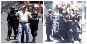 No crean que estos detenidos son delincuentes. Son ciudadanos que protestan contra Roberto Micheletti y su régimen opresor. Si la policía actuara de esta forma con los delincuentes viviríamos en un país mejor. En la foto de la derecha suben a la fuerza a una mujer a la patrulla.